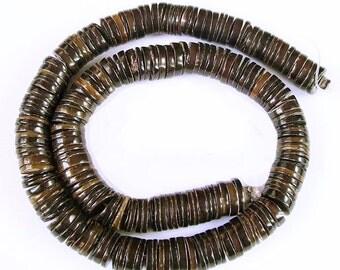 """Dark Penshell Heishi Beads 4-5mm 24"""" Strands Pen shell heishe"""