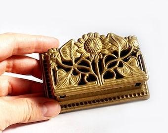 SALE Art Nouveau Sunflower Stamp Holder,Little Brass Box , ,Brass Ring Box, Vintage Jewellery Trinket Box