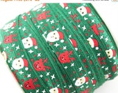"""Closed Out Sale 40% OFF 5/8"""" PRINT Fold Over Elastic - Santa and Reindeers - Christmas - Printed Elastic -DIY Hair Accessories Supplies"""