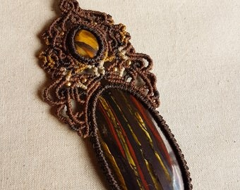 Tiger's Eye & Tiger Iron Macrame Pendant Necklace