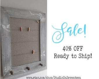 SALE Burlap CorkBoard with ClothesPinLines-DistressedWeatheredGray Finish-Custom Distressed Framed Cork Board-White Jewelry Hooks-Gray Knobs