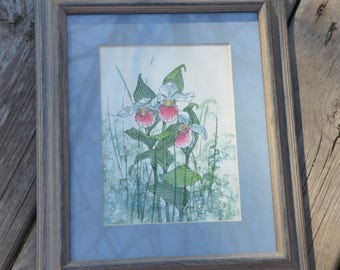 """eb2159 Art Print of LADY SLIPPER - Minnesota State Flower...On back it states: """"Handpainted Lady Slipper Reproduction 8 x 10 Watercolor"""""""