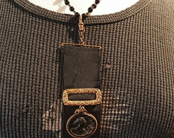 Victorian Mourning Black Cameo Fob Assemblage Steampunk Necklace with Tattered Silk Ribbon