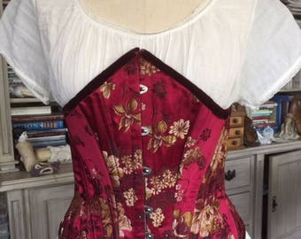 Vintage Victorian Style Under bust Silk Brocade Corset Steampunk Goth Gypsy Boho Lingerie Wedding Theater