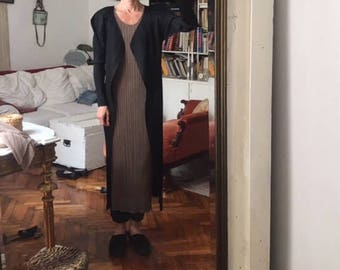 RESERVED size 4 Pleats Please Issey Miyake square avant garde shoulders / black maxi long jacket cardigan duster