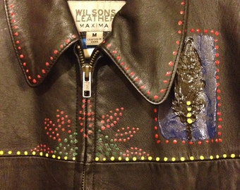 Young ladies hand painted leatger coat, Woman's leather jacket, Sacred Jacket