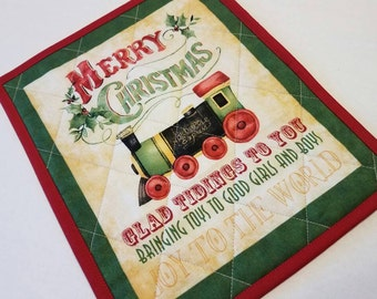 Christmas Train Mug Rug, Snack Mat, Fabric Coaster, Candle Mat, Trivet, Secret Santa, Hostess Gift, Holiday Home, Winter, Mini Placemat