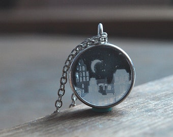 Resin necklace,City at night magic necklace pendant,Crescent moon necklace,Romantic necklace,Romantic jewelry,Black and white  necklace