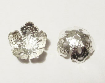 50 x Silver Plated Filigree Flower Beads Caps 14mm