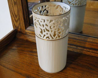 Retired Lenox Glenwood Vase, Pierced Top, Ribbed Bottom, Animals in Flowers, Cream Ivory Color, Gold Trim Floral Container