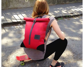 201710SALE COUPON CODE! Ruby rolltop backpack, waterproof, upcycled industrial canvas and leather bike backpack. Red wine red and black.