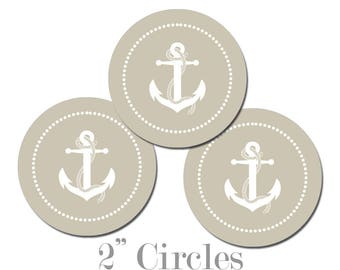 Digital Printable Two Inch Circles with Anchor in Sandy Tan Seaside Ocean Nautical Coastal Cupcake Toppers Gift Tags CCTB017
