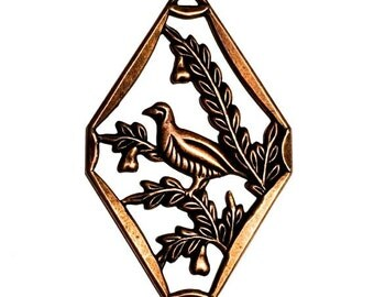 1 Bird Pendant, Bird Charms, Brass Stampings