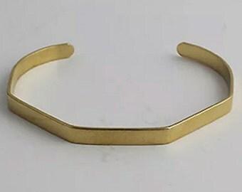 Brass Cuff, Octagon Cuff, Bracelet, Bangle, Cut out Cuff, Thin Cuff, 3 pcs