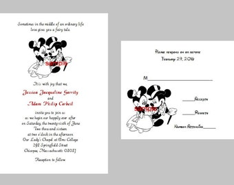 100 Personalized Custom Disney Mickey and Minnie Wedding Bridal Invitations RSVP Cards Set and envelopes - 5 graphics available