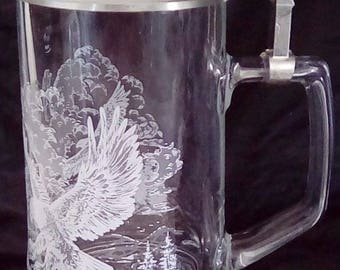 Etched Pewter and glass stein...FREE shipping!!