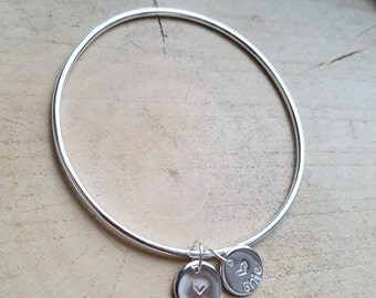 Charm Bangle Sterling Silver Bangle Bracelet Silver Bangle Silver Charm Bangle Personalised Bangle