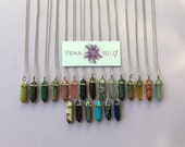 Polished Crystal Pendant Necklace - Silver Chain, Stainless Steel, Stones, Multi