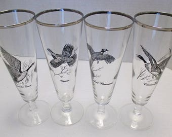 Federal Glass - Large Tall Pilsner Glasses - Game Birds with Silver Rims - Set of 4 (3 Sets Available)