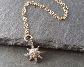 Pave Diamond Starburst necklace* tiny genuine Diamond Star pendant, layering necklace,fine jewelry,beachy rocker, mixed metal,valentine gift