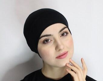 Cotton/spandex Black Night Cap, Chemo Cap, Hat &Scarf Liner, Sleep Cap