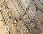 Women's Necklace Vintage Crystal Glass Rosary w/ Catholic Saints Repurposed