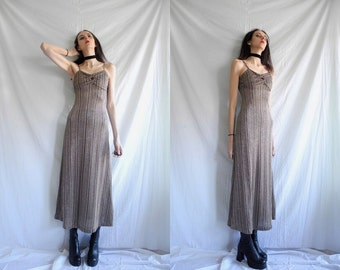 70's glam/rocker  gold/metallic silver/black stripe knitted strappy with maxi A line dress.