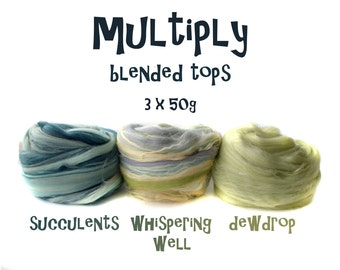 MULTIPLY- blended tops- 3 ply- Succulents- Whispering Well- Dewdrop- 3 x 50g- duck egg blue- pale green