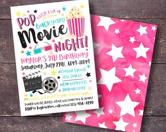Movie Birthday Invitation, Backyard Movie Invitation, Movie Night Invitation, Outdoor Movie Invitation, Movie Party Invitation, Movie Party