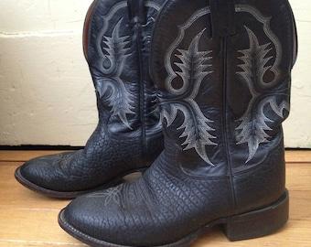 Vintage Tony Lama Black Full Grain Leather Cowboy Boots Men's Size 8 D or Women's Size 9.5 - 10