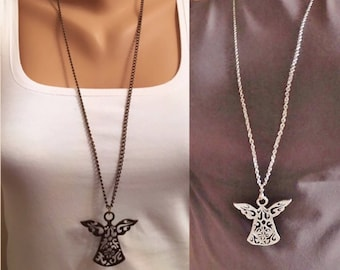 Antique Silver Angel Necklace, Lovely Necklace, Boho Jewelry, Angel Pendant Necklace, Fashion Jewelry, Guatdian Angel Pendant, Angel Wings