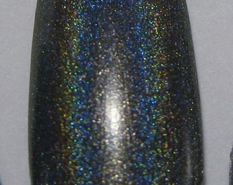 Smoke and Ashes Charcoal Dark Grey Gray Holographic Winter Holodays Cool Holo Indie Nail Lacquer Starlight Polish
