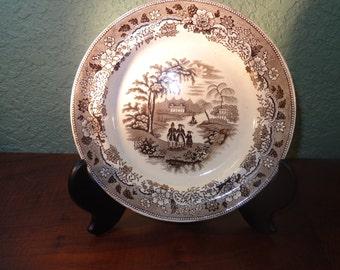 "STAFFORDSHIRE Country Decor, Antique  Brown  Transferware 9 1/3"" Plate, ETON COLLEGE, Vintage Decor"
