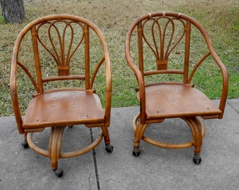 Pair Of Vintage Bamboo Chairs On Wheels 1980s Beach Decor Kitchen Living  Room Chairs Accent Occasional