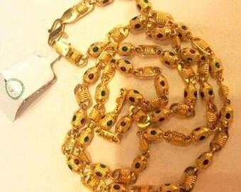Vintage Antique Solid 22k Gold Handmade Enamel Chain Necklace Rajasthan India
