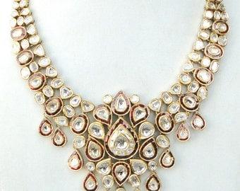 Vintage Antique 20k Gold Diamond Polki Kundan Enamel Meenakari Work Necklace India