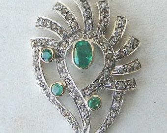 Victorian Diamond Emerald 14 K Gold Silver Pendant Ind