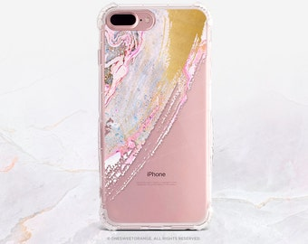 iPhone 7 Case Splatter Faux Gold Print Clear Rubber iPhone 7 Plus Clear Case iPhone 6 Clear Case iPhone SE Case Samsung S7 Edge Case U206