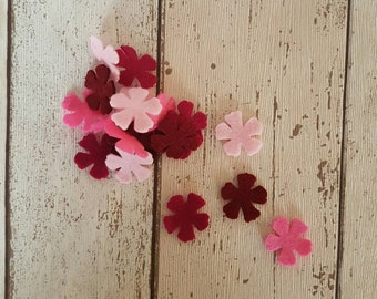 Pink felt Flowers, die cut felt, table confetti, felt supplies, wedding confetti, die cut flowers, pink flowers, felt embellishments, felt