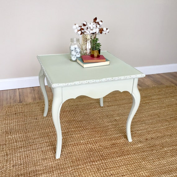 Vintage End Table - Green Side Table - Distressed Furniture - Sofa Side Table - French Style Furniture - Living Room End Table Country Chic