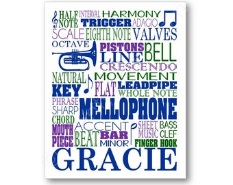 Mellophone Typography Art Print, Music Notes and Terms, Great gift for any Mellophone Player, Jazz or Music Room, Musician Art Gift