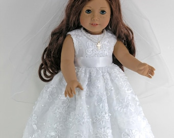 Handmade 18 inch Clothes for American Girl - First Communion Confirmation Doll Dress, Cross Necklace, Veil, Pantalettes - Flowers, Sequins