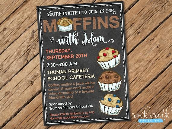 Muffins with mom invitation preschool daycare elementary school church breakfast party - Muffins fur kindergarten ...