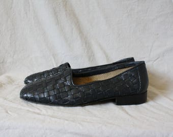Vintage Navy Blue Leather Flats / 1980s Blue Leather Flats / Vtg 80s Woven Leather Flats / Vtg Massimo Italian Flats 6