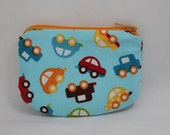 Little Zipper pouch, coin purse Little cars
