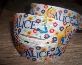 Floral Alice in Wonderland Grosgrain Ribbon