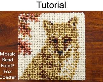 Beading Tutorial Pattern - Beaded Fox Coaster - Mosaic Beadpoint Home Decor - Simple Bead Patterns - Autumn Fox Coaster #20181