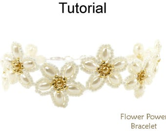 Beading Tutorial Pattern - Beaded Flower Bracelet - Beadweaving - Simple Bead Patterns - Flower Power Bracelet #24685