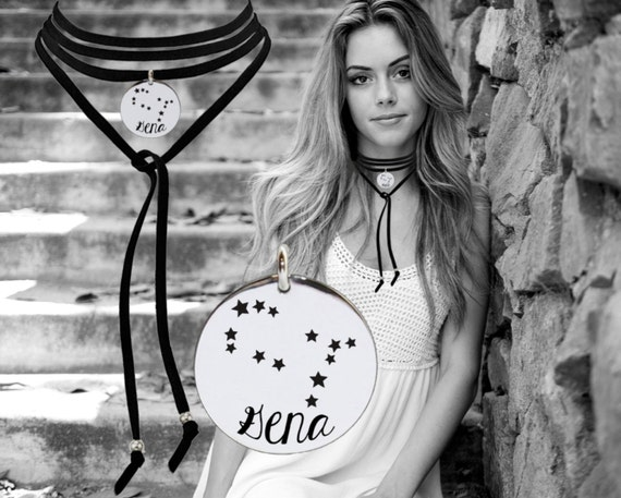 Zodiac Leather Choker   Constellation Necklace   Astrology Necklace   Inspirational   Quotes   Korena Loves