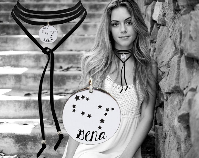Zodiac Leather Choker | Constellation Necklace | Astrology Necklace | Inspirational | Quotes | Korena Loves